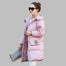 2017 Winter Women Coat Fashion Medium length Korean Hooded Coat Thick Warm Cotton Coat Large size White Goose Down Jacket AB276