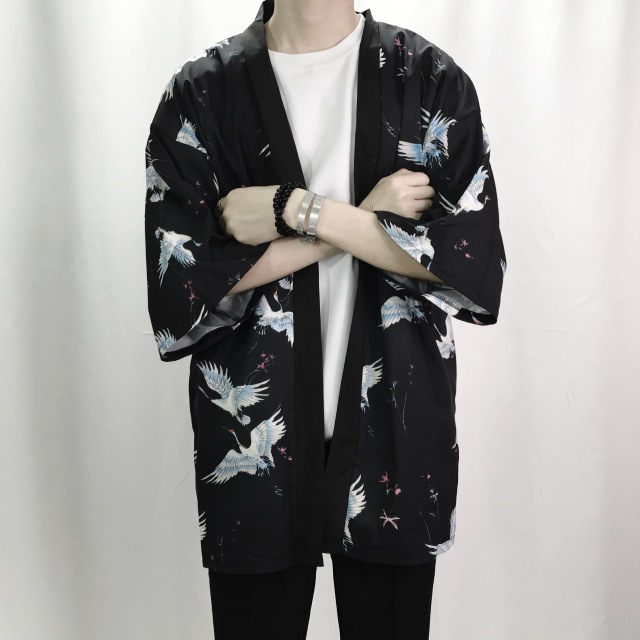 2018 summer men casual hiphop male japan style cardigan kimono loose coat plus Japan Style Hiphop Kimono Jacket Linen Overcoat
