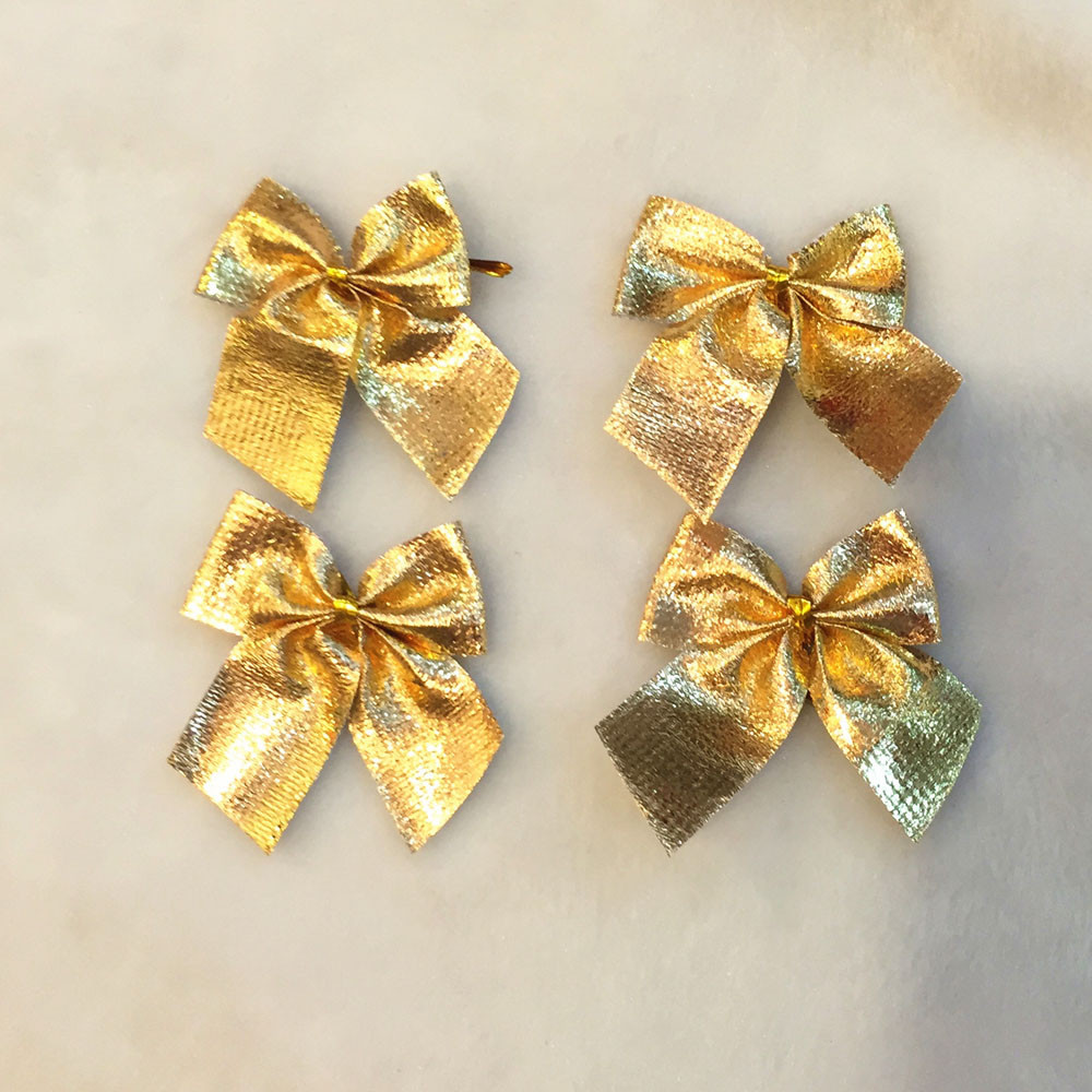 12pcs Gold Solid Bow Tie Polyester For Festival Decoration