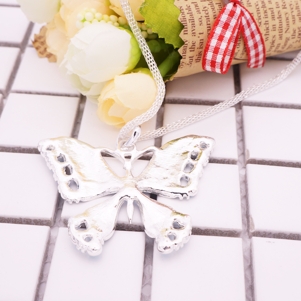 Fashion Animal Jewelry Bule Enamel Butterfly Pendant Necklace For ...