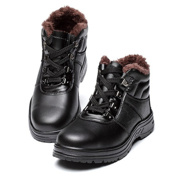 Winter Safety Shoes Men Boots Genuine Leather Steel Toe Shoes Warm Plush Lightweight Breathable Casual Anti-puncture Work Boots haraval handmade winter woman long boots luxury flock round toe soft heel shoes elegant casual warm retro buckle solid boots 289