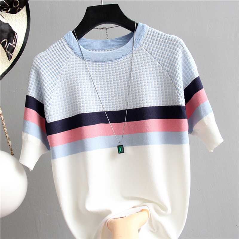 Shintimes Short Sleeve Sweater Women Striped Top 2019 Plaid Knitted Cotton Korean Style Woman Clothes Camisetas Mujer Pull Femme