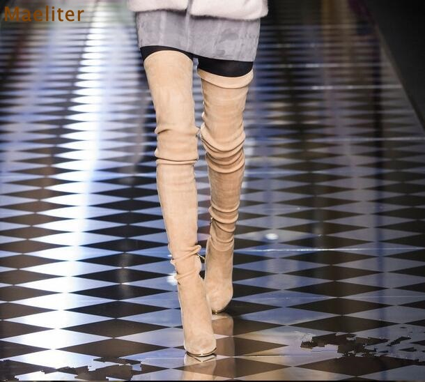 80c792a19a50e Newest Hot Selling Fall Winter Sexy Extremely Thigh High Boots 80cm Long  Boots Slim Fit Suede