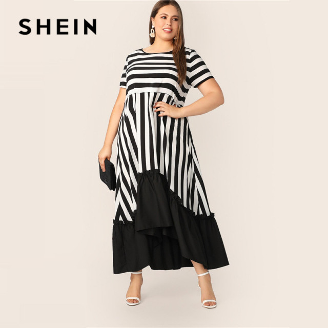 SHEIN Plus Size Black And White High Low Hem Striped Dress 2019 Women Summer Modest Casual Ruffle Hem High Waist A Line Dresses 3