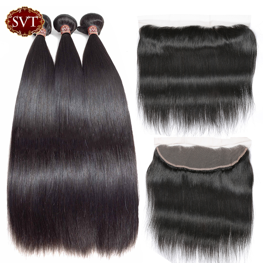 SVT Hair Peruvian Straight Hair 13 4 Lace Frontal Closure With Bundles Non Remy Human Hair