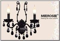 Винтаж Черный хрустальные настенные бра светильник Настенный кронштейн бюстгальтер свет черный кристалл свет 2 огни