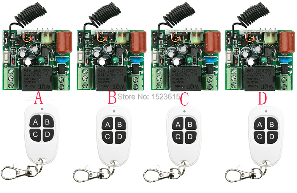 Hot Sales New AC 220V 1CH RF Wireless Remote Switch System teleswitch 4pcs Receiver & 4pcs Transmitter With 4 buttons hot sales dc 12v 1ch 10a 4 receiver