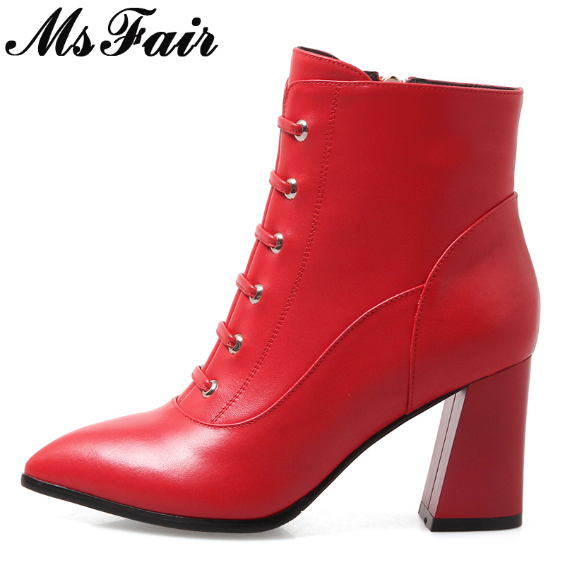 MsFair Pointed Toe Square heel Women's Boot Cross Tied High Heels Ladies Ankle Boot 2017 New Winter Zipper Fashion Women Boots double barrel toddler boys s andy cowboy boot square toe