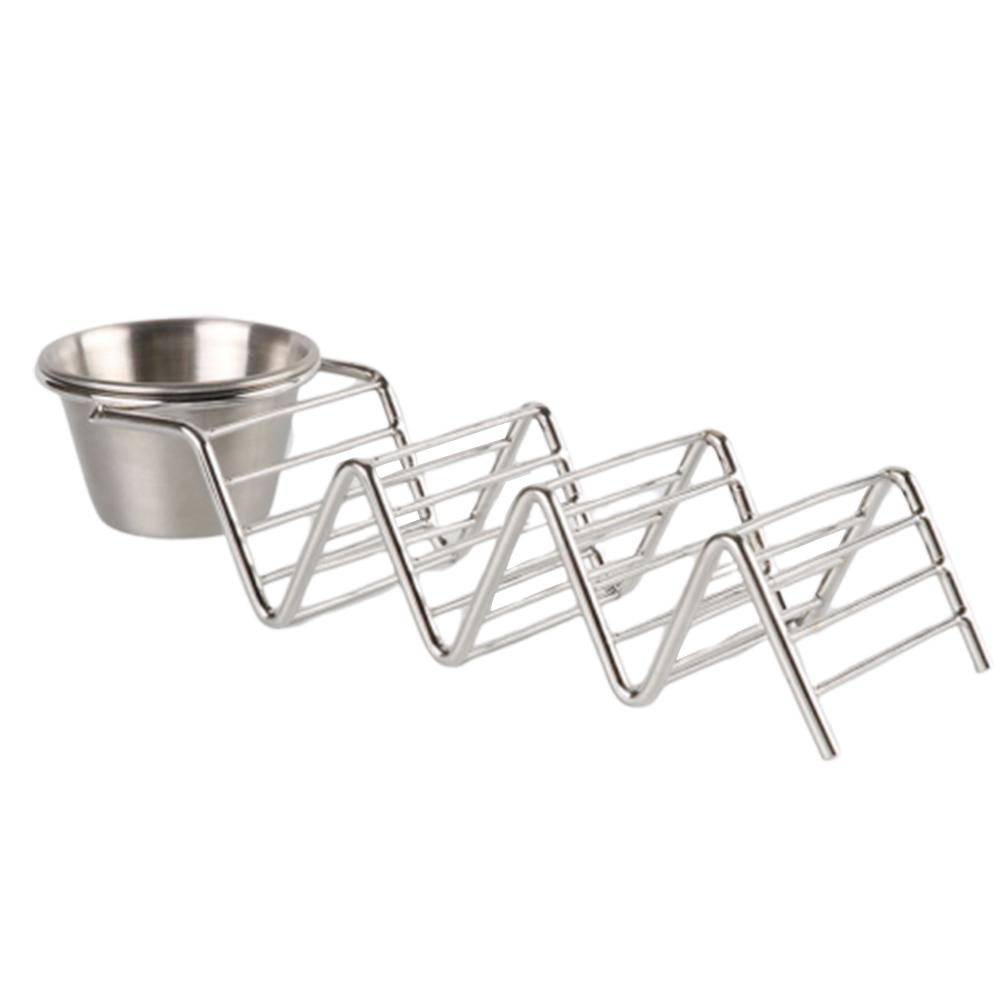 Wave Shaped Pizza Rack Food Stand With Sauce Cup Stainless Steel Pancake Racks Corn Rolls Holders Restaurant Food Show Tools image