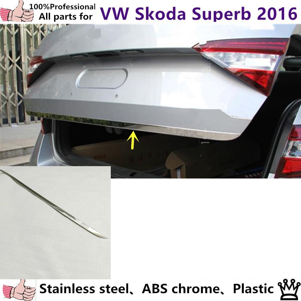 Car Sticks body styling stainless steel Rear door tailgate frame plate trim lamp 1pcs for Volkswagen Skoda Superb 2016