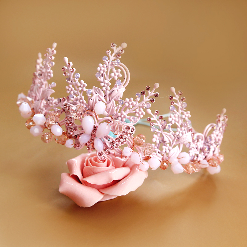 New Handmade Alloy Beaded Jewelry High End Bridal Tiara Rhinestone Wedding Dress Headdress Ornaments Painted Pink Crystal Crown-in Hair Jewelry from Jewelry & Accessories on Aliexpress.com | Alibaba Group