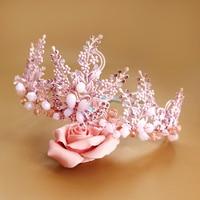 New Handmade Alloy Beaded Jewelry High End Bridal Tiara Rhinestone Wedding Dress Headdress Ornaments Painted Pink Crystal Crown