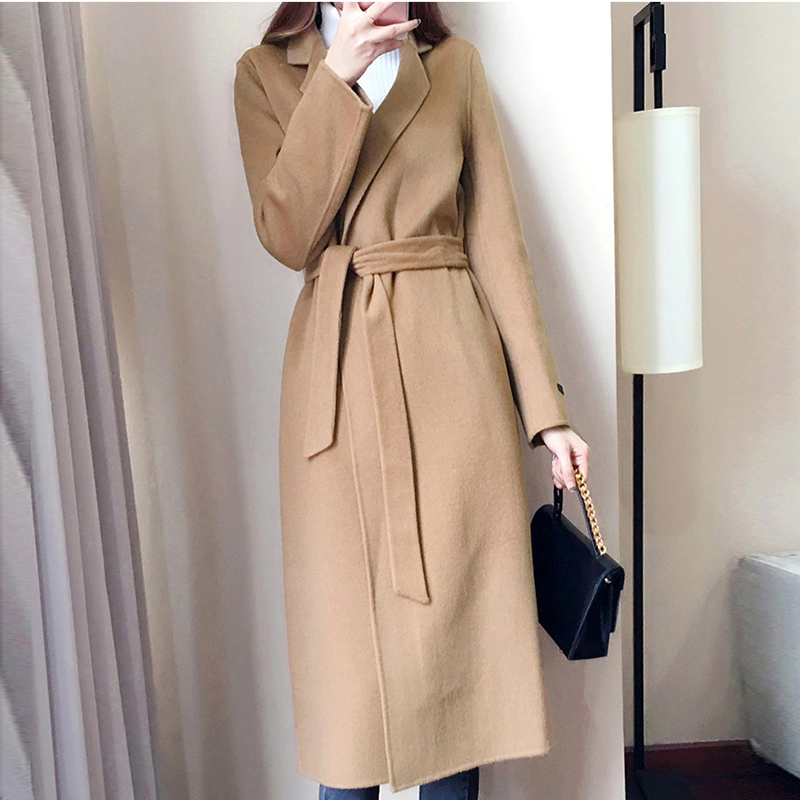 Woolen Coat Female Cashmere Middle Long Sashes Elegant Jackets Outwear Autumn Winter Women Woolen Blends Khaki