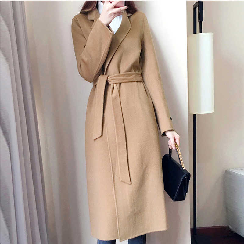 Woolen Coat Female Cashmere Middle Long Sashes Elegant Jackets Outwear Autumn Winter Women Woolen Blends Khaki Coats FP1362
