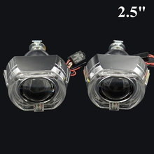 2.5inch Bi xenon hid Projector lens for bmw led day running white angel eyes H1 H4 H7 hid xenon kit headlight