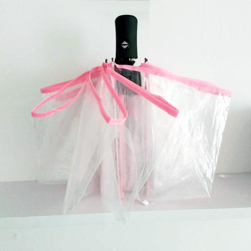 Cijeli automatski prozirni kišobran 3 sklopivi kišobran kiša žene - Kućanski robe - Foto 2