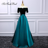 Robe De Soiree Boat Neck Short Sleeves A Line Stain Long Party Prom Dresses Graduation Dresses for Women Prom