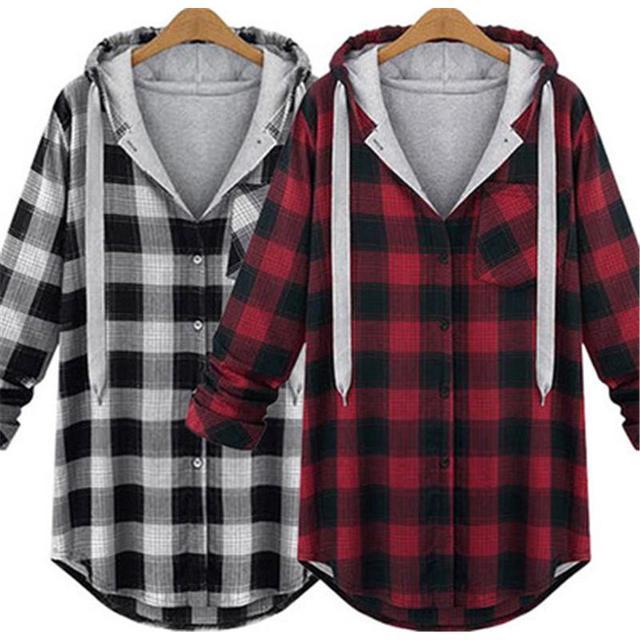 2016 Las Mujeres Europeas de Gran Tamaño XL-4XL Suéter de Las Rebecas Escudo Otoño Nueva Chaqueta Con Capucha A Cuadros Más Tamaño Grasa Suelta