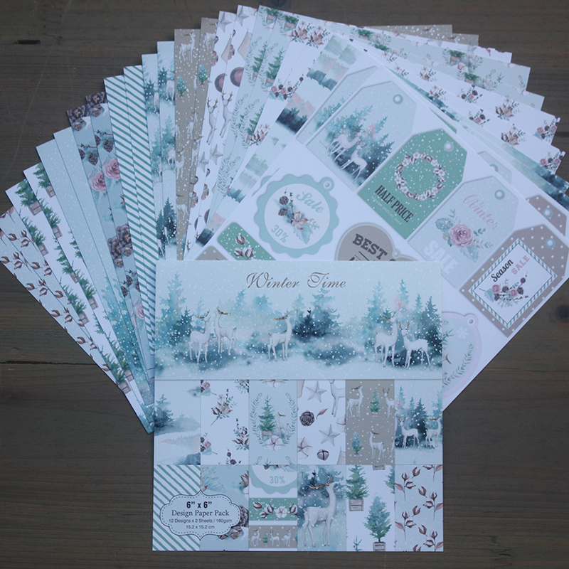 DIY Winter Time Style Scrapbooking Paper Pack Of 24 Sheets Handmade Craft Paper Craft Background Pad