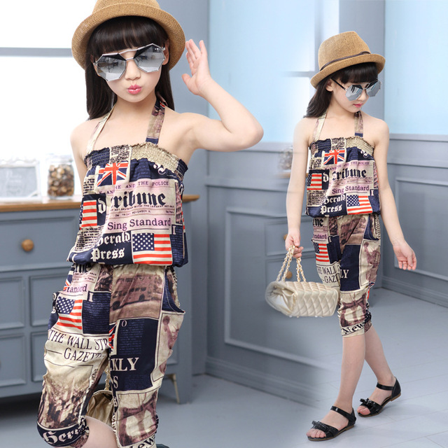 c4a6dd4b29ff 2016 summer girl clothing set korean UK USA paper print clothes for ...
