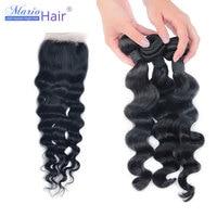 7A Mario Peruvian Virgin Hair 4pcs Lot Loose Wave Top Lace Closure With Human Hair Weave Bundles