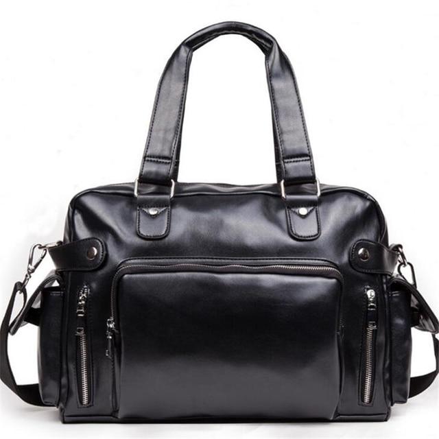 New Hot 2017 Fashion PU Men Handle Travel Bag Large Capacity Black Men Single Shoulder Bag Brand Casual Men Messenger Bag B313