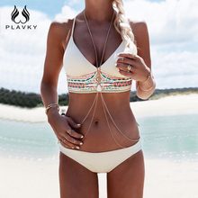 PLAVKY costumi da bagno donna 2017 Women Sexy Bikini Set Push Up Swimsuit Print Fringe Bikini Beach Swimwear Women Bathing Suits