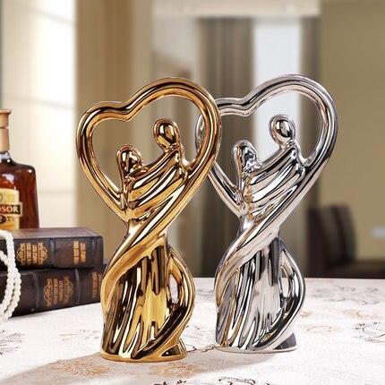 Couple de porcelaine brillante sculpture décoration de la maison en céramique figurine de mariage à collectionner en céramique cadeau de mariage pour les amis
