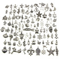 Handmade Crafts For DIY Charm 100PCS Mixed Antique silver-color mini Ocean Dolphin Shell Charms Pendant Jewelry Making