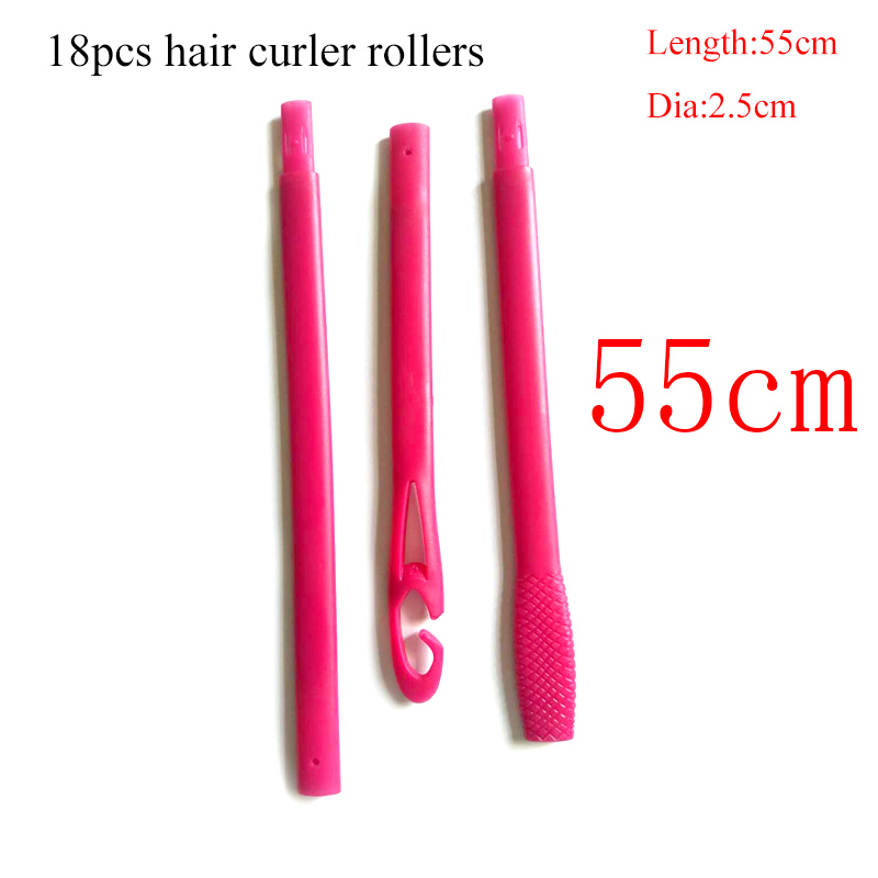 18 pcs/set 55cm long hair rollers with diameter 2.5 cm Magic curler styling tools for 2018 new product
