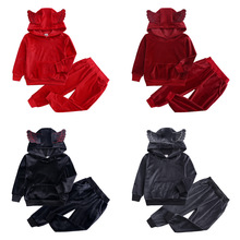Autumn Girls Boys Clothing Sets Winter Children Fashion Hooded Sweatshirt Coats And Pants Suit Velvet Tracksuit Kids Clothes Set