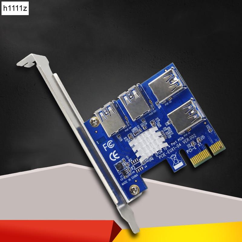 Tarjeta PCI Express Riser 1 a 4 PCIe 16X Riser USB 3,0 PCI-E adaptador multiplicador de puertos Convertidor para BTC bitcoin minero minería