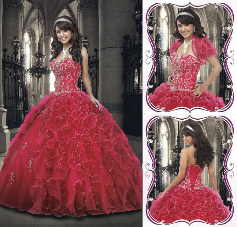 2015 Top Sale New Arrival Red Organza Ruffles Gold Embroidery SweetHeart Custom Made Ball Gown Quinceanera Dress