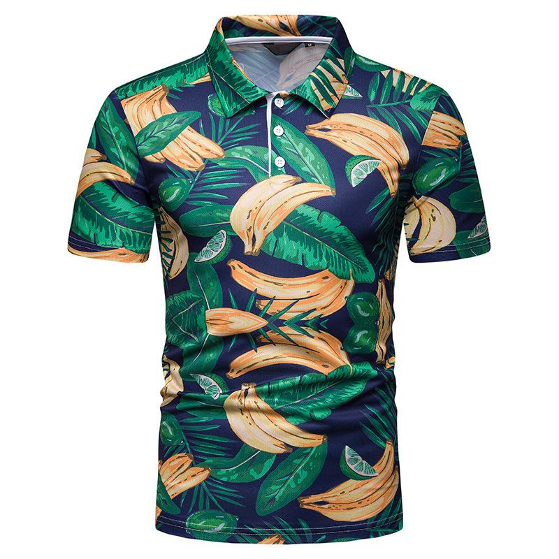 Funny Banana print Men   Polo   Shirt Hawaiian Short sleeves Fashion Fitness clothing Hip hop   Polo   Shirt for Men