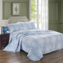 Spring and summer warm Comfortable 3pcs 1* bedspread 2 *pillowcases simple Countryside Quilt Set Queen Quilted Bedspreads