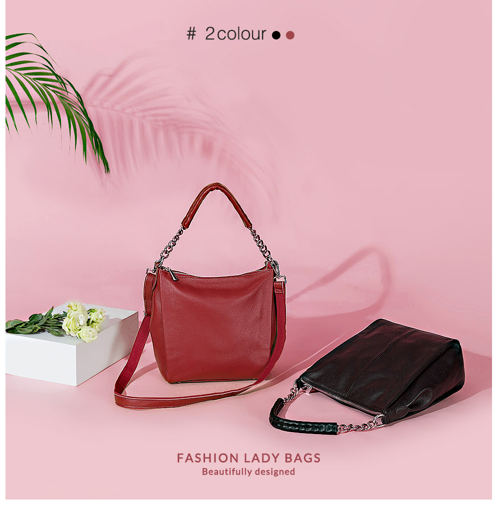 Zency 100% couro genuíno preto bolsa moda