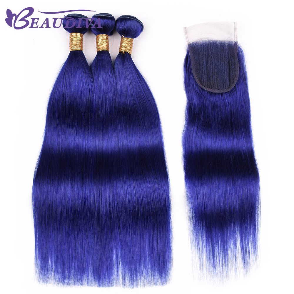 Beaudiva Blue Hair Bundles with closure Malaysian Straight Human Hair Weave 3 Bundles with Closure Remy
