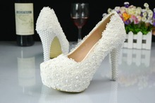 Sweet white flower bud silk waterproof platform heels pearl wedding shoes bridal gowns