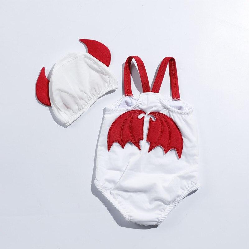 Nieuwe zomer kinderen een stuk devil angel badpak kinderen vleugel Kids Leuke mode wit zwemkleding met bijpassende ha YZ19014
