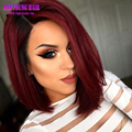 Straight Hair T1B/Burgundy Ombre Short Bob Full Lace Human Hair Wigs Glueless Lace Front Wigs Right Opening U Part Wig for Women