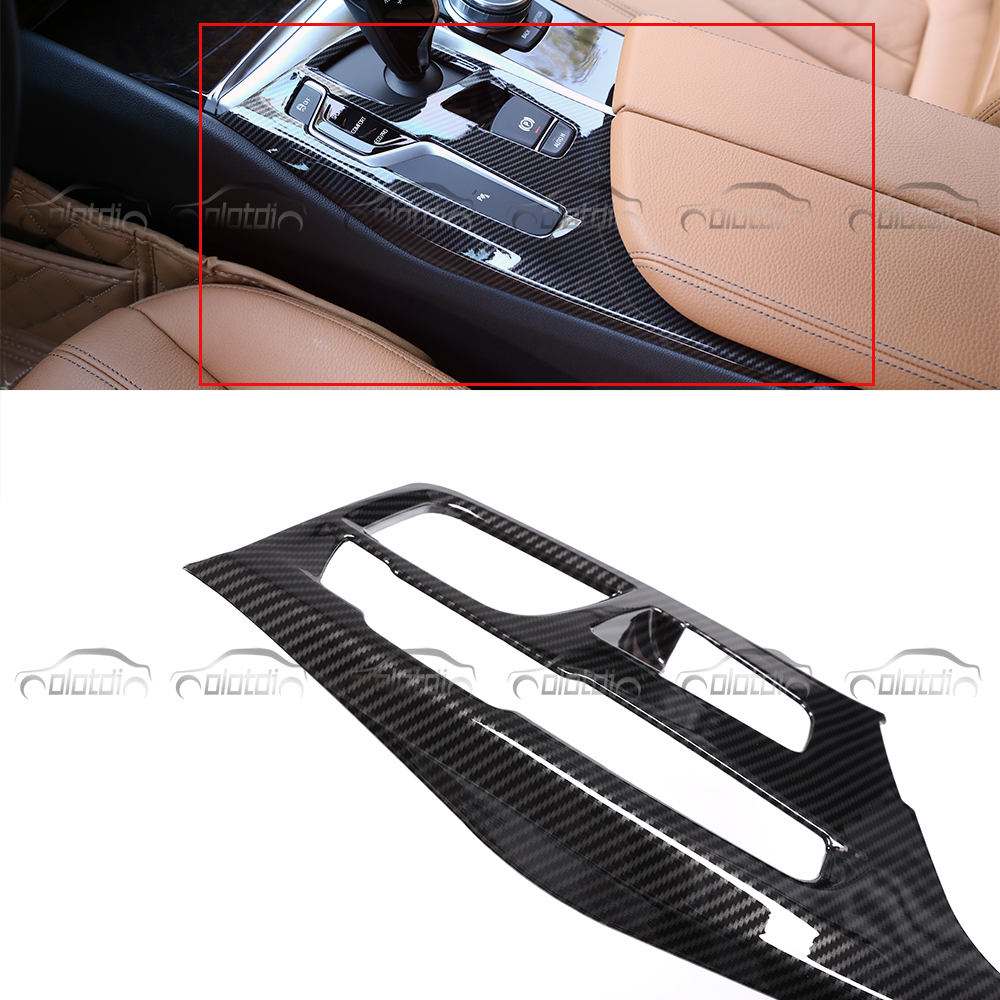 Car Styling for BMW 5 Series G30 2018 Interior Decoration Carbon Fiber Look Central Control Frame Console Panel Cover Trim Stick car acessories carbon fiber interior cover trim fit for bmw all models hand brake knob with m logo car styling