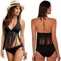 Black Fashion Sexy Design Bra +Briefs Set Women Tassel Solid Backless Frenum polyester fibre Female Bikini Beach For Mujer J10