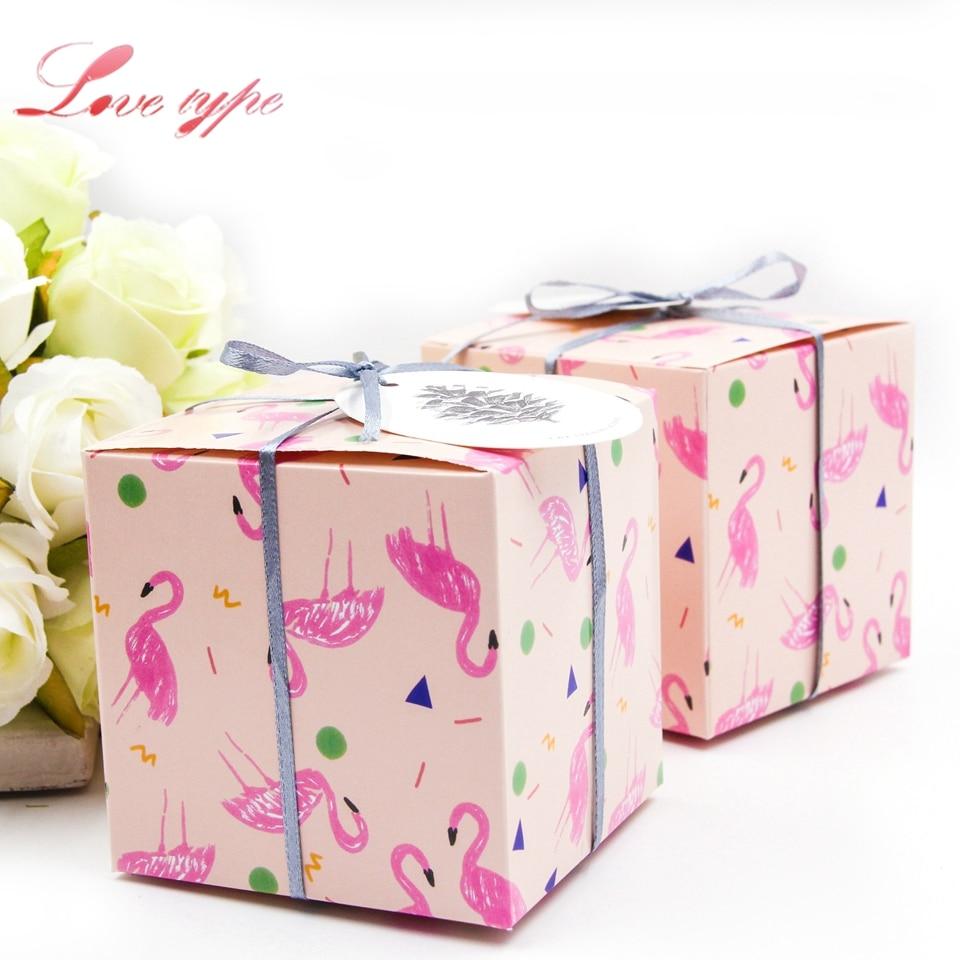 2PCS/Lot Flamingo Gift Box Cute Square Candy Pattern DIY Kraft Paper ...