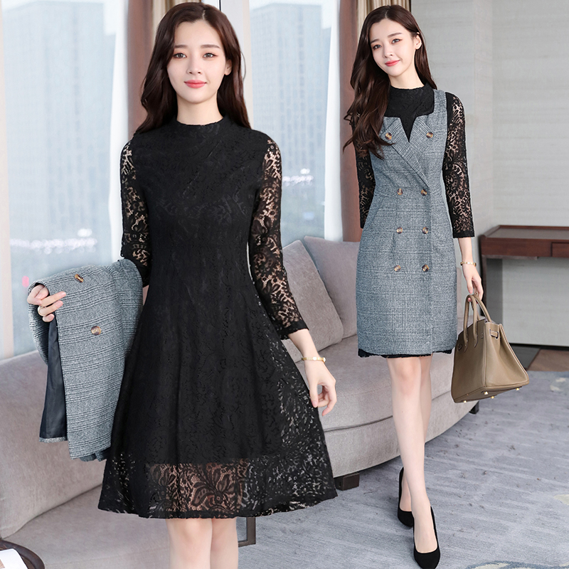 Plus Size 2018 Autumn Winter New Sexy Lace Midi Dresses Women Elegant Korean Bodycon Two-piece Dress Party Long Sleeve Vestidos