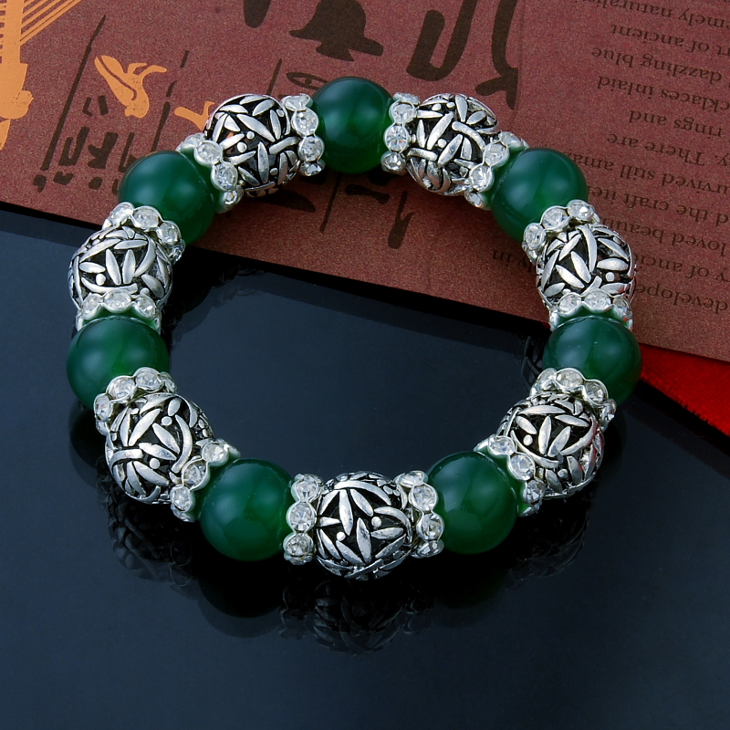 Shop502745 Store 2015 new925 Tibet silver ball beads  with green charms links crystal Nation style bracelet for women /men's wholesale promotion