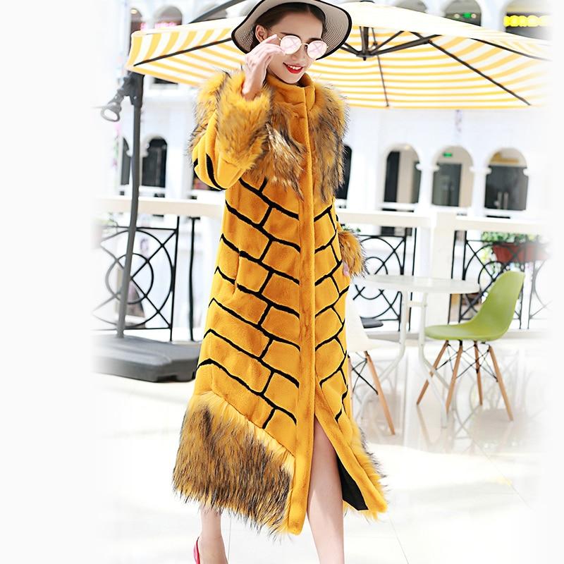 Nerazzurri Qadınlar əlavə uzun faux xəz palto sarı və qara - Qadın geyimi - Fotoqrafiya 4