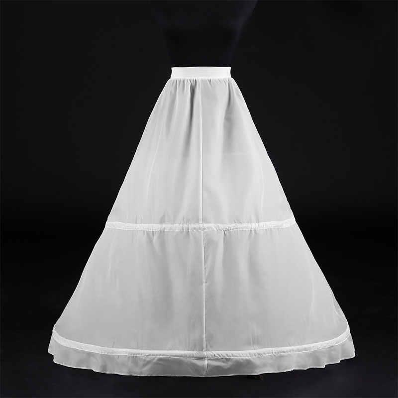 Wanita Putih 2 Hoops A-line Pernikahan Aksesoris Bridal Crinolines Vestidos De Novia Memetiknya Pikuk Rok Dalam
