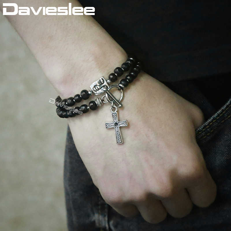 Davieslee Mens Bracelet Black Wood Beaded Double Strands Stainless Steel Faces Cross Charm  Necklace For Men LDB45