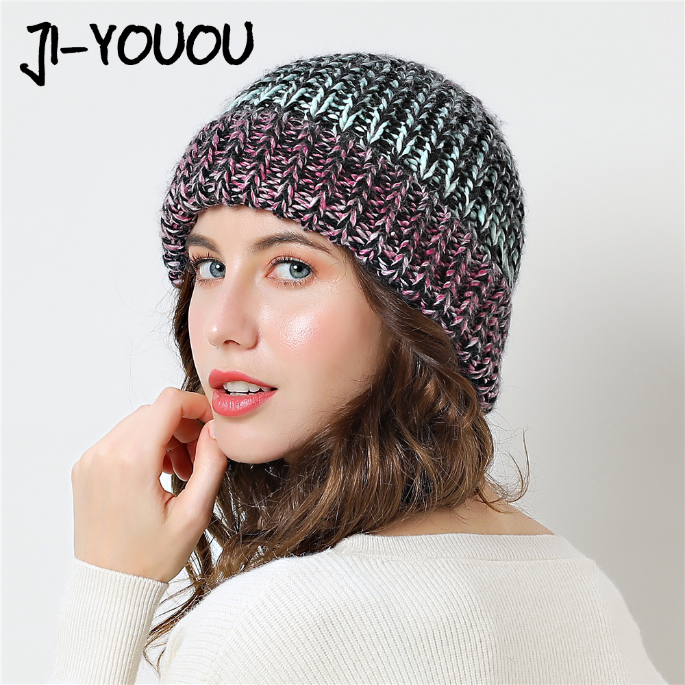 winter hats for women gorros color slouchy girl   beanie   bone Thicker Women's cap knitted 2018 hat   skullies     Beanies