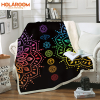 Thickened double layer Blanket Mandala Series Blanket Flower Pattern Thick Tapestry Coral Fabric Quilt Cover Bedroom Blankets